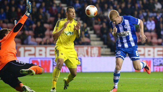 Ben Watson heads in Wigan's second