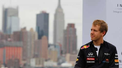 Sebastien Vettel at the Grand Prix of America at Port Imperial Cours last year