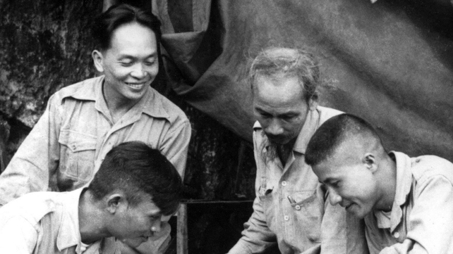 Picture dated 1950 of Vietnamese President Ho Chi Minh (2nd-R, 1890-1969), the founder of the Vietnam Workers' Party, and General Vo Nguyen Giap (background L, smiling) during a military campaign in Vietnam