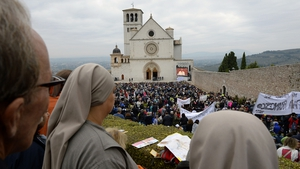 A general view of the atmosphere as Pope Francis holds a Mass at the Sacro Convento and Saint Francis Basilica