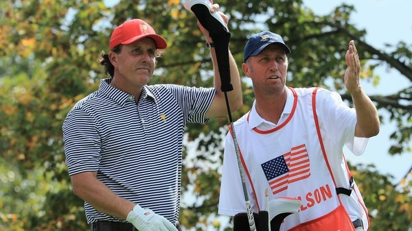 Phil Mickelson and Keegan Bradley (not pictured) won the top match 4&3 against Jason Day and Graham DeLaet