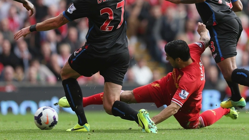 Luis Suarez gave Liverpool the lead in the 14th minute