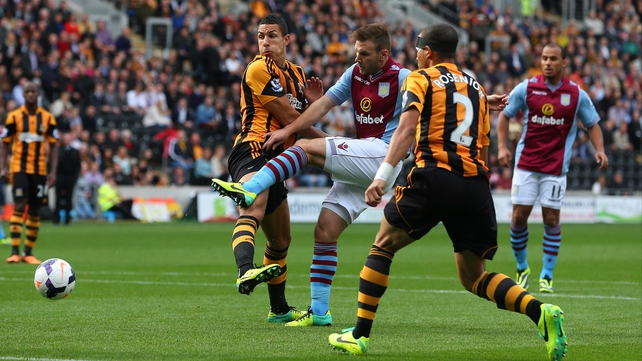 Aston Villa's Andreas Weimann takes a shot at the Hull City goal