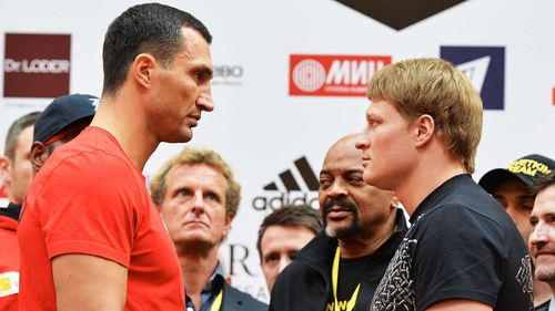 Vladimir Klitschko and Alexander Povetkin face off at the weigh in