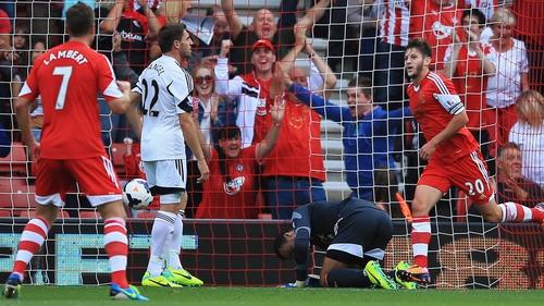 Adam Lallana of Southampton (20) celebrates his 19-minute goal