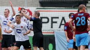 Dundalk's Darren Meenan is sent off