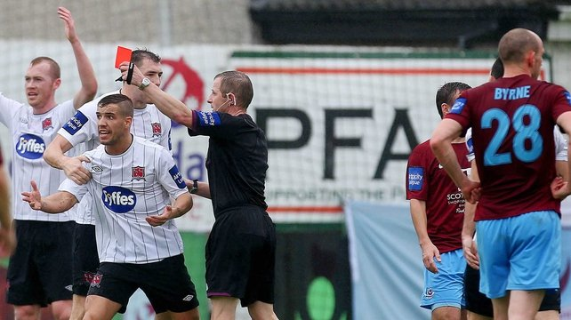 Dundalk's Darren Meenan is sent off