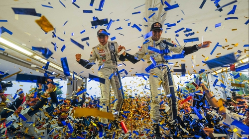 Sebastien Ogier and co-driver Julien Ingrassia celebrate in Strasbourg