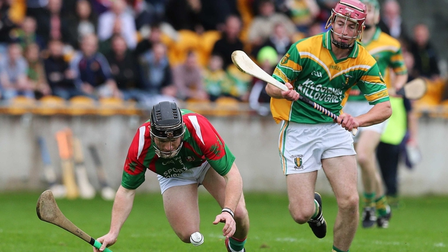 Birr's Sean Ryan (l) and Peter Geraghty of Kilcormac-Killoughey