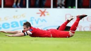Danny Ventre of Sligo celebrates the first goal