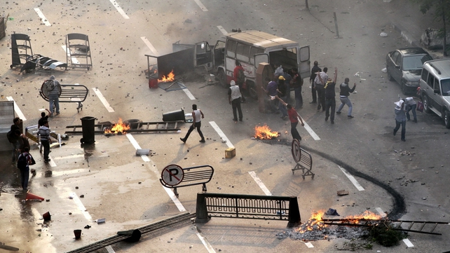 Supporters of ousted president Mohammed Mursi block the road in Cairo