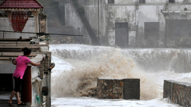 The typhoon has cut off power supply in some areas
