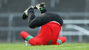 St Brigid's goalkeeper Shane Curran celebrates after his side scored a late goal in the Roscommon SFC final