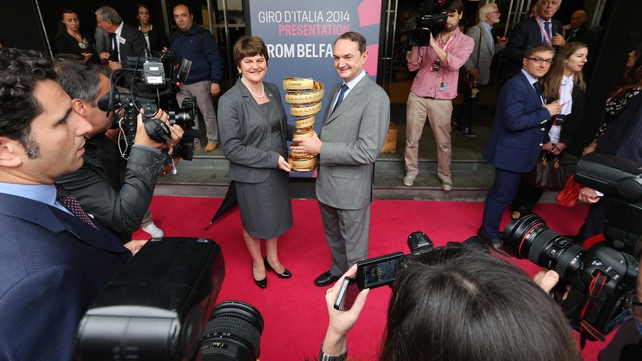 Northern Ireland Tourism Minister Arlene Foster was present with the Giro d'Italia winning trophy at the launch in Belfast
