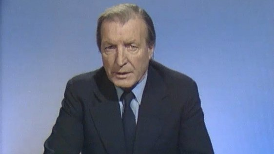 Charles J. Haughey delivering 'A Ministerial Broadcast by An Taoiseach' on 9 January 1980.