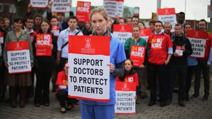 Hospital doctors demonstrating outside St James Hospital, Dublin
