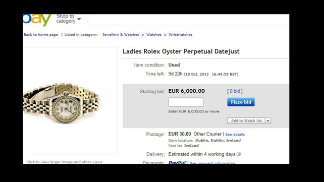 Bidding for the 'used' Rolex starts at €6,000
