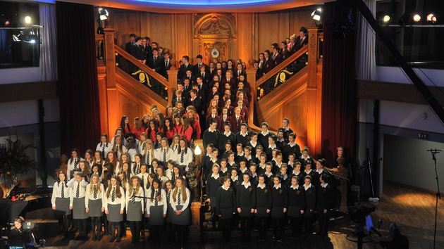 The four finalists in the 2012 Grand Final on stage at Titanic Belfast last year