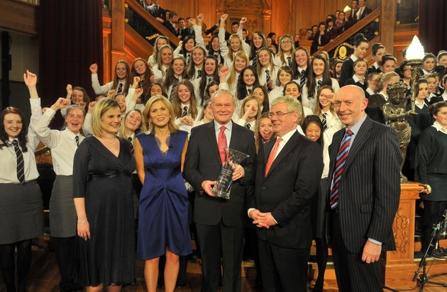 The 2012 School Choir of the Year Competition winners, Methodist College, Belfast on stage at Belfast's Titanic