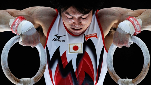 Kohei Uchimura of Japan competes in the Rings during the Mens All-Around Final on Day Four of the Artistic Gymnastics World Championship
