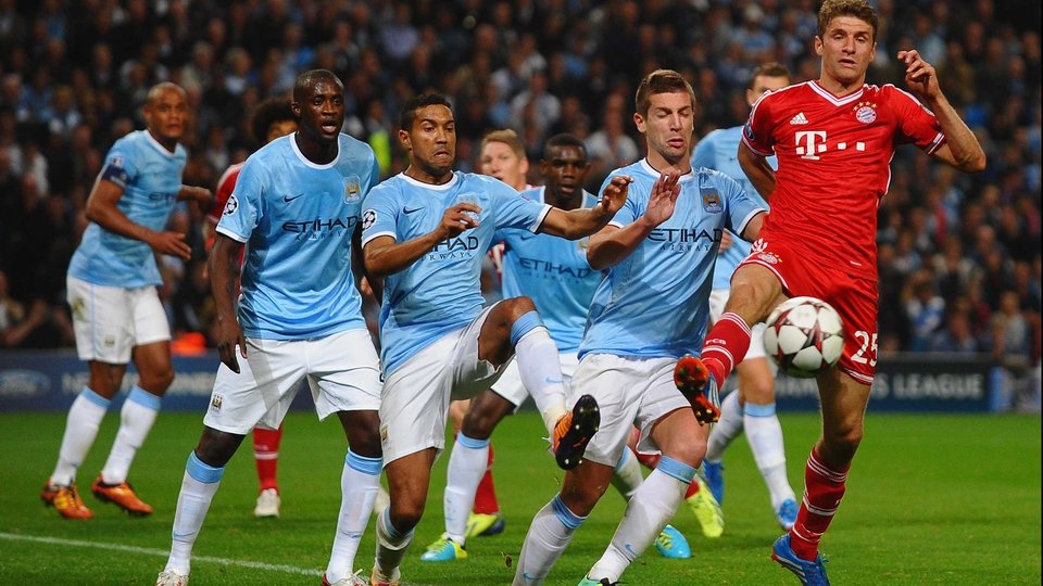 Thomas Muller in action during the UEFA Champions League Group D match between Manchester City and Bayern Munich