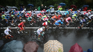 The peloton in action during the Elite Men's Road Race, a 272km race from Lucca to Florence