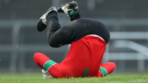 St Brigids goalkeeper Shane Curran celebrates after his side scored a late goal in the Roscommon SFC final