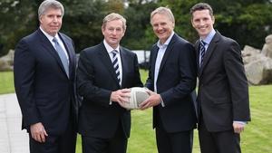 At today's IMI conference, Eircom CEO Herb Hribar, Taoiseach Enda Kenny, Ireland rugby coach Joe Schmidt and Dr Simon Boucher, IMI CEO