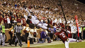 Brandon Carter of the TCU Horned Frogs jumps but cannot reach a pass in the end zone during a game against the Oklahoma Sooners