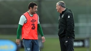 Andy Reid with manager Noel King at training in Malahide on Tuesday