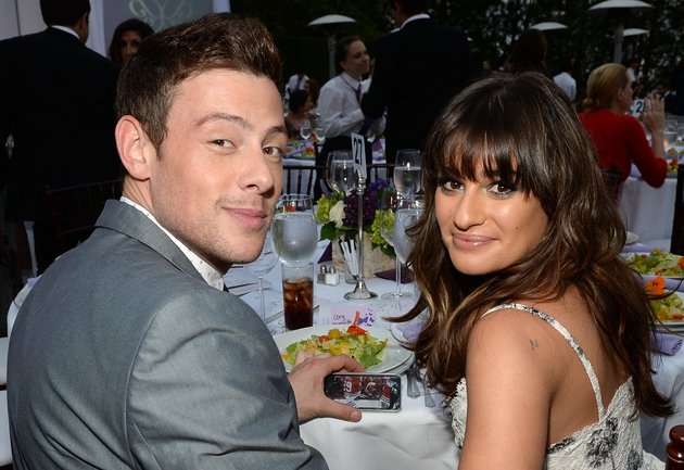 The late Cory Monteith with his girlfriend and Glee co-star Lea Michele