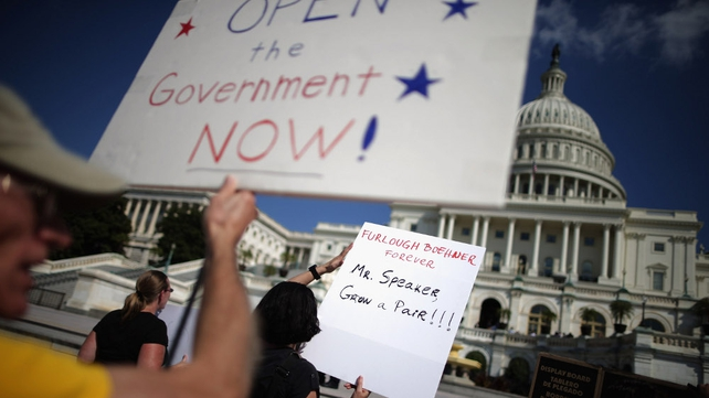 Furloughed federal workers protest over the partial shutdown