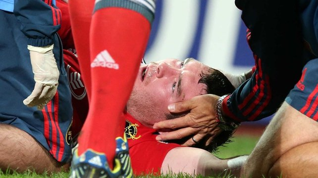 Peter O'Mahony was replaced at half-time against Leinster after getting a bang to the head