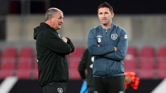Noel King talks to Robbie Keane, who is an injury doubt for tonight