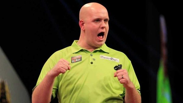 Michael van Gerwen took only 21 minutes to dispose of Raymond van Barneveld (Pic: Lawrence Lustig/PDC)