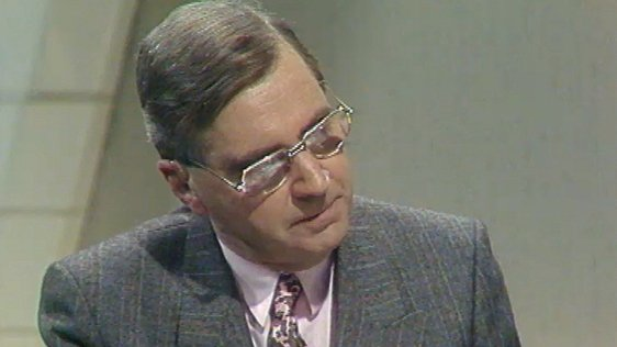 Brian Farrell presenting a 'Today Tonight' Budget Special in 1987.