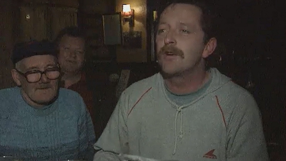 In reaction to Budget 1995, a local at a Ringsend pub reads a poem in reaction to the budgetary announcements.