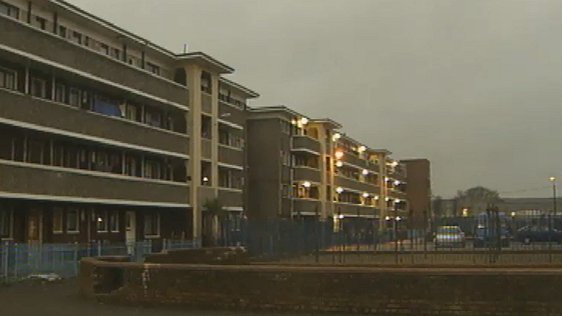 Fatima Mansions flat complex pictured during a report on Budget 2000 on 1 December, 1999.