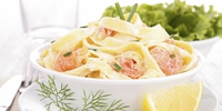 Fresh seafood tagliatelle  - Paul Treyvaud's fresh tagliatelle pasta with wild smoked salmon, fresh crab and a cream and white wine sauce