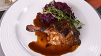 Honey-roasted duck with red cabbage - Rachel Allen's delicious duck dish served with red cabbage cooked with apple