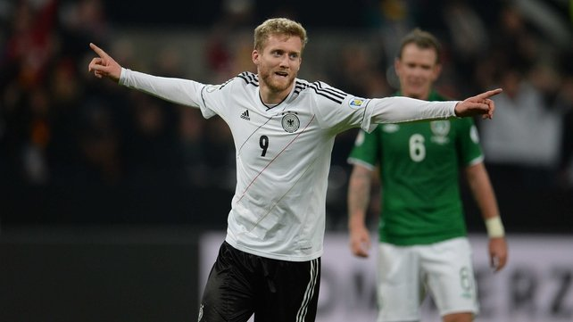 Andre Schurrle celebrates Germany's second goal in their 3-0 victory over Ireland