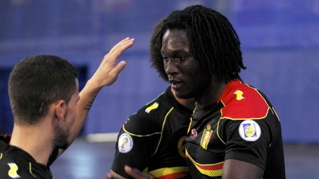 Romelu Lukaku scored twice for Belgium as they qualified for next year's World Cup in Brazil
