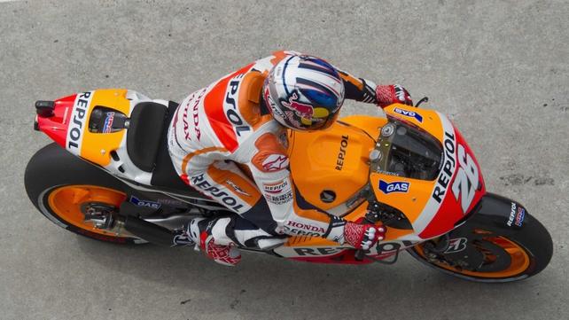 Repsol Honda rider Pedrosa beat team-mate and compatriot Marquez by 2.757 seconds