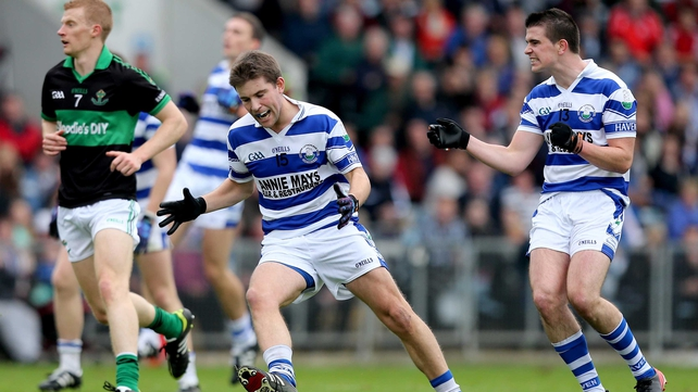 Castlehaven's Shane Nolan and Sean Cahalane react to a missed