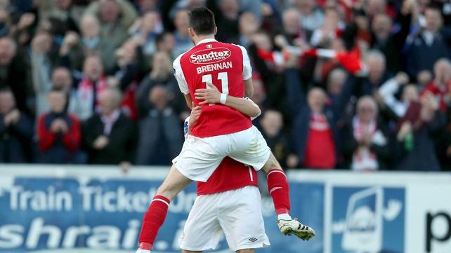 Killian Brennan celebrates with goalscorer Greg Bolger as Saints beat Sligo in Inchicore
