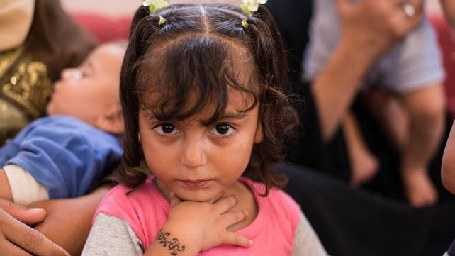 Three-year-old Raahaf lives at the sprawling Zaatari camp