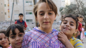 Children in the border city of Irbid