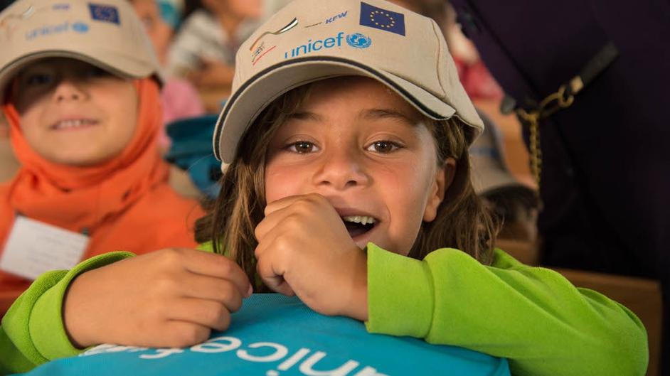 Seven-year-old Aya at the Zaatari refugee camp