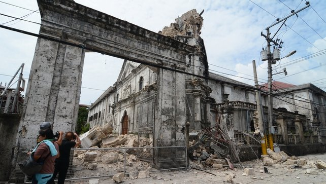 The damaged structure of the Basilica of the Holy Child in Cebu City, Philippines