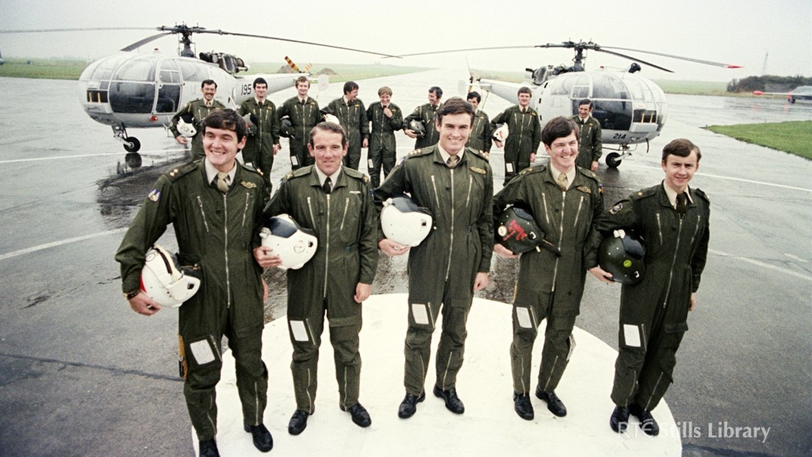 Irish Air Corps officers and crewmen from the Helicopter Squadron at Baldonnel identified.